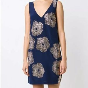 TRINA TURK Navy Glitterati Studded Silk Dress 2